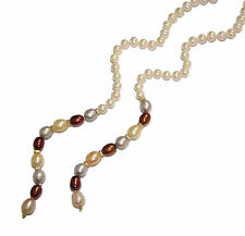 "Freshwater Pearl 48"" Lariat Necklace With 9ct Yellow Gold Beads (WAS £275)"
