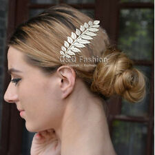 Grecian Bridal Prom Silver Laurel Leaf Hair Pin Clip Dress Snap Barrette Comb