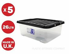 5 x 28 LITRE UNDERBED PLASTIC STORAGE BOXES !! CLEAR BOX - BLACK LID !! CHEAP!!