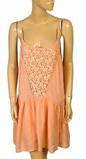 134032 New Abercrombie & Fitch Floral Lace Peach Sleeveless Tunic Dress Medium M