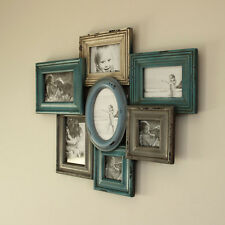 Duck Egg Multi Aperture Photograph Frame Distressed gift living room hallway