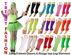 NEON LEGWARMERS LONG FISHNET GLOVES SET FANCY DRESS HEN PARTY 80'S DISCO TUTU