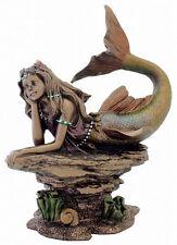 Mermaid Statue Thinking on Rock Sea Creature with Painted Pearl Headband #3225