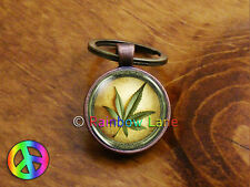 Marijuana Pot Leaf Weed Cannabis Car Accessories Keychain Key Chain Ring Gift