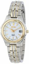 Seiko SUT038 Ladies Two Tone Steel Solar Quartz White Dial Date Watch