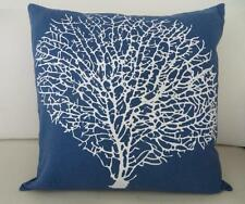 White Coral on Blue Cotton Cushion Cover 45cm