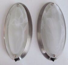 2  RV 12 Volt Nickel Oval Dome Dinette Ceiling Wall Cabinet Light Swirl Glass