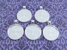 "50 Qty - 1"" Round Pendant Trays - Shiny Silver Color - Cameo Craft 25mm 1 inch"