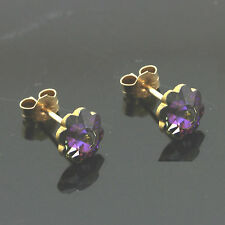 9ct Gold 8mm Heliotrope Cystal Flower Studs Made With Swarovski Elements