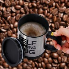 Black Double Insulated Self Stirring Mug 400ml Electric Coffee Cup Perfect Gift