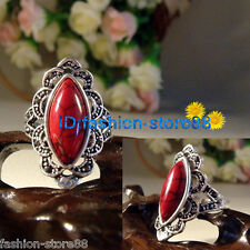 Unique Fashion Noble Lady's Exquisite tibet silver Inlaid  Red Turquoise Ring