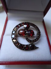 "SUBLIME ANTIQUE ART NOUVEAU 18ct GOLD PYROPE GARNET ENCRUSTED 1"" CLOVER BROOCH"