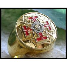 Masonic Ring 33 Degree Freemasonry Men  24k Yellow Gold Plated Size 11