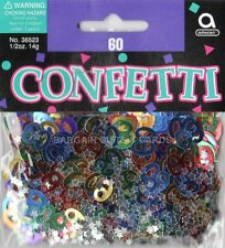 1 PACK 60TH BIRTHDAY CONFETTI /  TABLE SPRINKLES MULTI COLOURS TABLE DECORATIONS