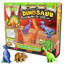 DINOSAUR MOULD PAINT PLASTER KIT FRIDGE MAGNETS CHILDRENS ACTIVITY CRAFT ART SET