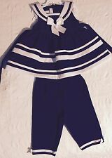 Bonnie Baby Sailor Outfit Sleeveless Top & Capris  Nautical Girls Sz 24 Months