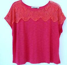 NWT ** CHLOE K ** ~ NEW ~ Cute Lace Front Cherise Pink Cap Sleeve Top M