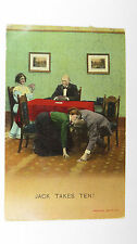 1915 Antique Funny Postcard Contract Bridge Game Card Players Jack Romance Love