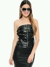 Black Double Buckles Spike Studs Faux Leather Biker Strapless Top Medium