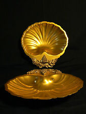 Pair Hollywood Regency Gold Shell Pastry Canape Server Platter Tray Dish