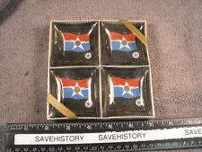 Vintage Unused set of 4 THE NEW DALLAS TEXAS  CITY FLAG 1967  Mini Ashtrays