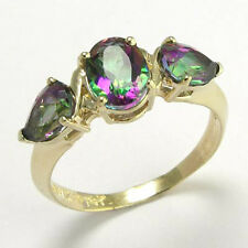 3.0 cwt. Mystic Mreen Topaz Ring 14k Y/ Gold Rind, Ring Sizes 4 to 9.5  #R478