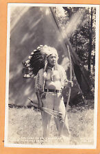 Native Americana Real Photo Postcard Chief Standing Deer Cherokee Reservation NC
