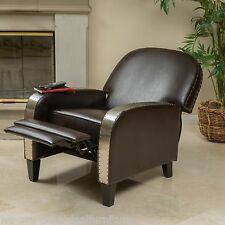 Living Room Brown Leather Metal Nailhead Accent Recliner Club Chair