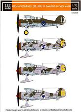 SBS Models Decals 1/72 GLOSTER GLADIATOR (J8 & J8A) Swedish Air Force Part 2