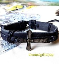 Men's Cross + Bible New Age Surfer Biker Characters Leather Bracelet Wristband