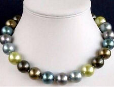 12mm Multicolor South Sea Shell Pearl Round Beads Gemstones Necklace BV217