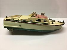 "Vintage 1950's Battery Operated 17"" Wooden Motor Boat / Yacht Toy Made in Japan"