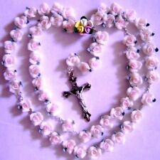 ROSE ROSARY CROSS Soft Ceramic beads necklace jewelry bracelet lot crucifix