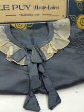 Vtg Antique Airforce Blue French Victorian Edwardian Cropped Blouse Top Collar