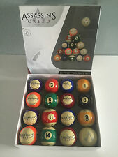 BNIB Genuine Assassins Creed Merchandise Boxed Logo 16 Piece Pool Ball Set