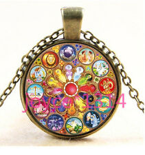 Vintage Zodiac Compass Cabochon Bronze Glass Chain Pendant Necklace #3806