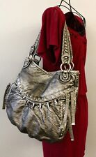 RED BY MARC ECKO Silver Metallic Pebble PU Faux Leather Hobo Purse Studded Bag