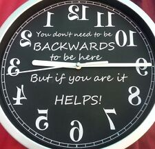 NEW MAD BACKWARDS  REVERSE WALL CLOCK FUNNY XMAS GIFT JOKE  PRESENT