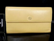 Authentic CHANEL Leather Trifold Long Wallet Beige Coco S849