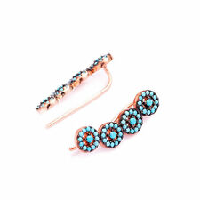 925 Sterling Silver Nano Turquoise Stones Pave Women Ear Cuff Crawler Earrings
