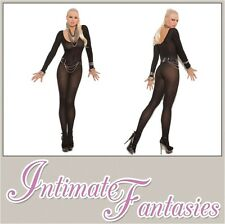 Black Bodystocking Crotchless Long Sleeve Sexy Lingerie Size 8 10 12 14