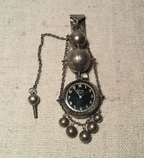 Antique Victorian Dominick Haff Sterling Silver Agassiz Geneva Watch Chatelaine