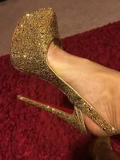 Christian Louboutin Slingback Daffodile Strassed In Aurum Gold Crystals 160mm 37