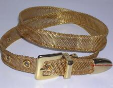 New GOLD-TONE METAL BELT Removable Buckle Snap-on Strap Snake Chain Mesh sz XS S