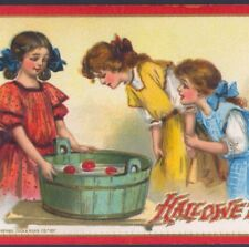FRANCES BRUNDAGE..VICTORIAN STYLE GIRLS PLAY HALLOWEEN PARTY,APPLE DUNK POSTCARD
