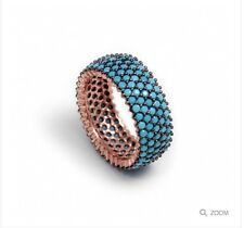 nano turquoise gemstone ring sterling silver rose gold plated Uk P