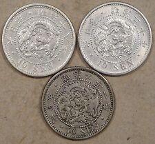 Japan 10 Sen 1885(Yr 18),87(Yr 20),+88(Yr 21) Mid-Better Grade Coins