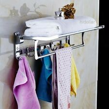 MIRROR CHROME BATHROOM LAUNDRY HOLDER COAT HANGER FOLDABLE TOWEL RAIL RACK SHELF