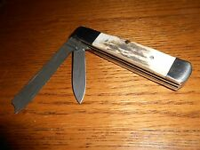 PARKER-EDWARDS COLLECTOR KNIFE 2 DAMASCUS BLADES, STAG HANDLES, ALABAMA USA