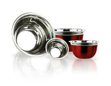 4 Pc Stainless Steel Mixing Bowls or Serving Bowls w/ Flat Base & Flat Rim - Red
